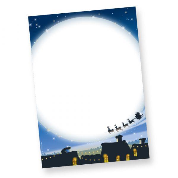 Weihnachten Motivpapier blau (50 Blatt) Motiv Stille Nacht. Briefpapier Weihnachten DIN A4 für Weihnachtspost zum selbst bedrucken