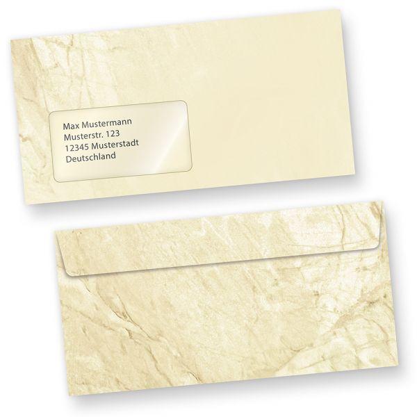 Briefumschläge Marmor (500 Stück m.F.) DIN lang Umschläge MIT Fenster haftklebend
