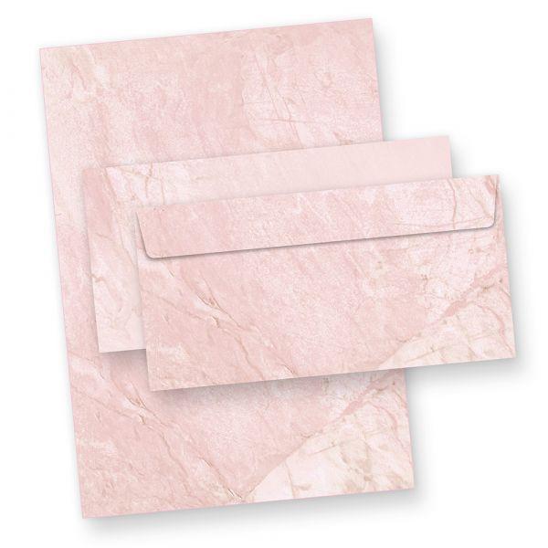 Briefpapier Set marmoriert Rot (25 Sets mit Umschläge) Marmorpapier DIN A4