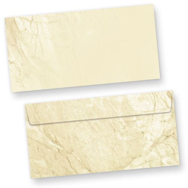 Briefumschläge braun marmoriert (50 Stück o.F.) DIN lang Umschläge ohne Fenster haftklebend