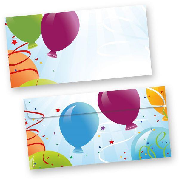 Briefumschläge Party (50 Stück) bunte Luftballons für Einladungskarten, Glückwunschkarten, Geburtstag