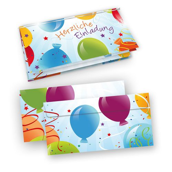Einladungskarten Geburtstag, Party (50 Sets mit Umschläge)