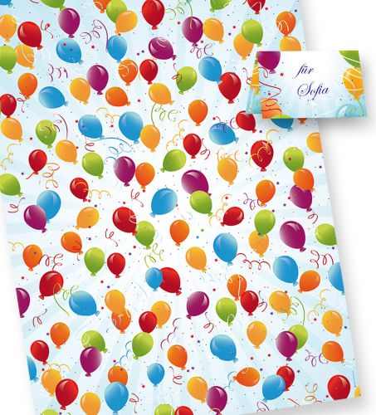 PREMIUM Geschenkpapier Geburtstag (25 Bogen) Luftballons bunt & , inkl. Anhänger,  50 x 70 cm (gefalzt auf 25 x 35 cm), für Party und Kinder
