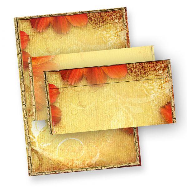 Blumen Briefpapier Set Antik (25 Sets mit passenden Umschlägen) Motivpapier Set Design DIN A4