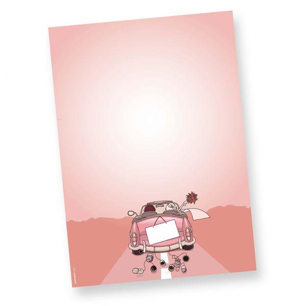 Briefpapier Hochzeit (50 Stück) Vordrucke Design Schreibpapier, Motivpapier DIN A4 und farbig, Geschenkidee, mit Word selbst bedruckbar Passende Briefumschläge und Klappkarten erhältlich oder auch als Set.
