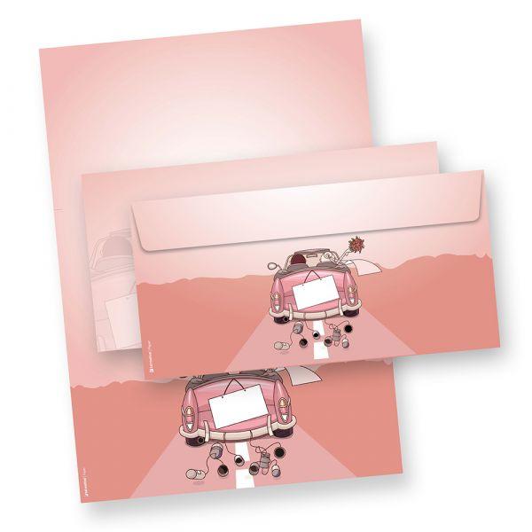 Briefpapier Set Hochzeit (25 Sets inkl. Kuverts) Briefbögen und passenden Umschlägen für Hochzeit, Trauung.