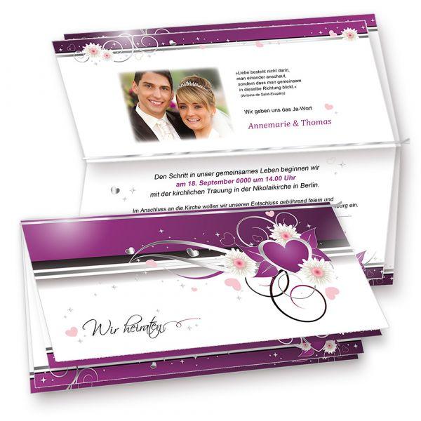 Hochzeitseinladungen lila Herz (10 Sets mit Umschläge)