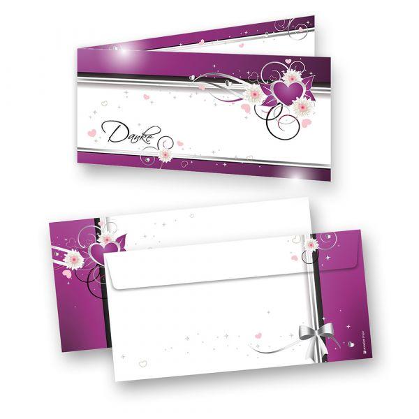 Dankeskarten Hochzeit lila Herzen (40 Sets) Danksagungskarten für Foto