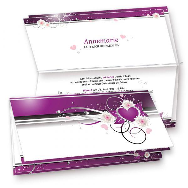 Einladungskarten Geburtstag Herzen (20 Sets inkl. Kuverts) Set mit 20 Karten, 20 Umschläge, 20 Einlegeblätter zum Selbstbedrucken + Silberband. Für Einladungen, Glückwünsche oder Hochzeit.