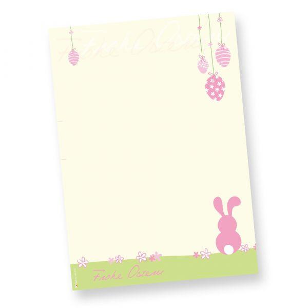 Briefpapier Ostern rosa (50 Stück) Motivpapier DIN A4 farbig, NEU: inkl. 3 Oster-Postkarten