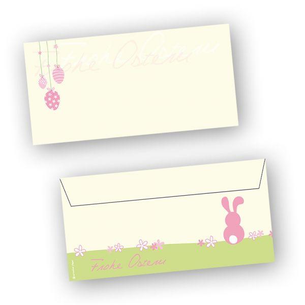 Briefumschläge Ostern rosa (250 Stück) DIN lang Umschlag mit Ostermotiv
