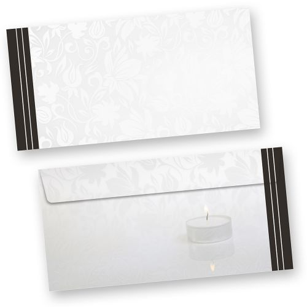 Trauer Briefumschläge (50 Stück ohne Fenster) DIN lang mit schwarzem Trauerrand