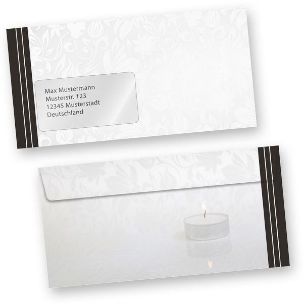Briefumschläge Trauer (250 Stück MIT Fenster) DIN lang Trauer-Umschläge für Trauerbriefe oder Karten, MIT FENSTER. Passendes Briefpapier erhältlich oder auch als Set.