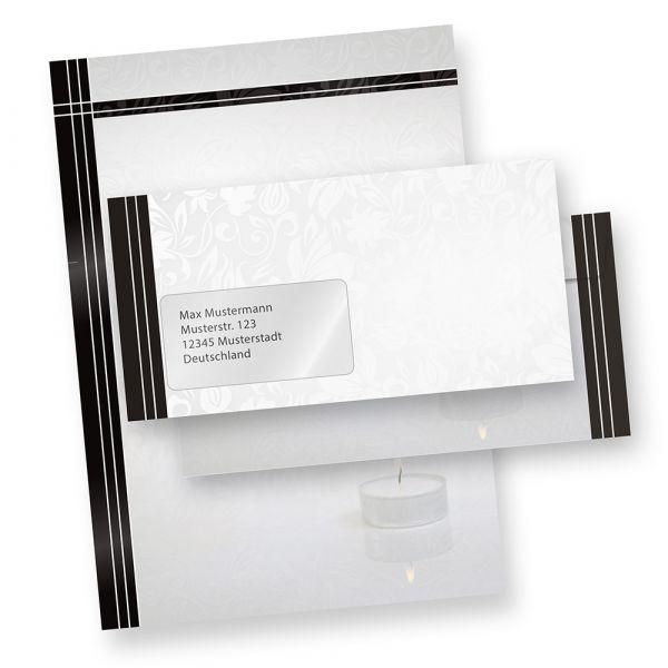 Briefpapier Trauer Set (100 Sets mit Fenster)