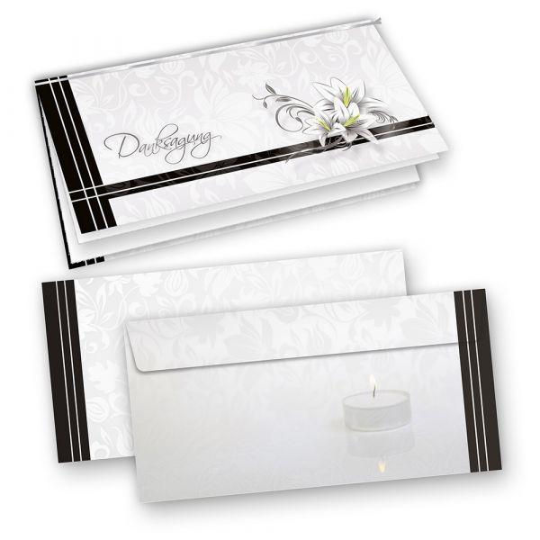 Trauerkarten Danksagung (10 Sets) inkl. Umschläge mit Einlegeblatt zum Selbstbedrucken
