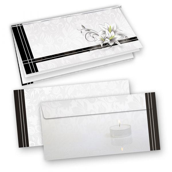 Trauerkarten (100 Sets) inkl. Umschläge mit Einlegeblatt zum Selbstbedrucken