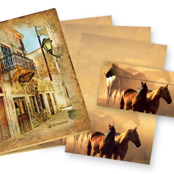 Mappe Briefpapier Pferde (25 Sets mit Umschläge) Geschenkset für Pferdefreunde