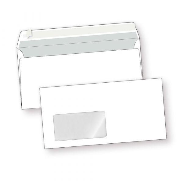 PREMIUM Briefumschläge DIN lang mit Fenster (3000 Stück) weiß, haftklebend mit Haftstreifen (kein Austrocknen - bis 5 Jahre!) 220 x 110 mm, 80 g/qm