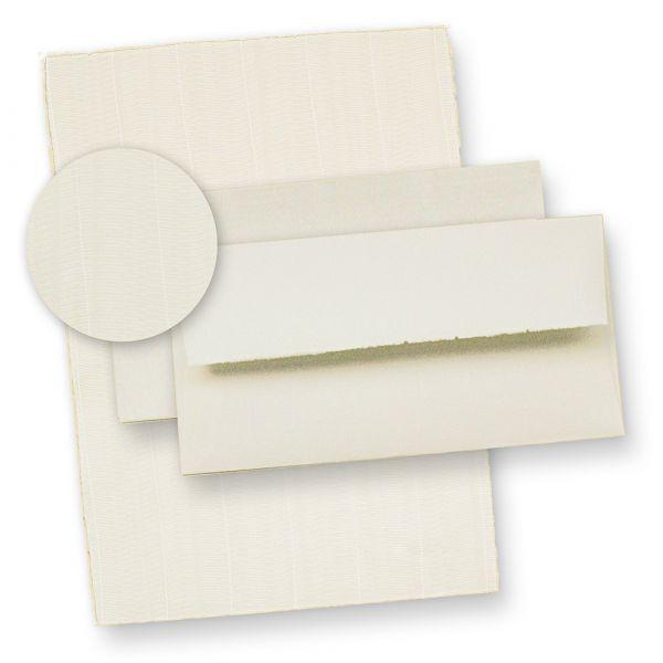 Bütten Briefpapier wildgerippt (20 Sets) 115 g/qm Büttenpapier ca. A4, inkl. hochwertig, gefütterte Büttenumschläge