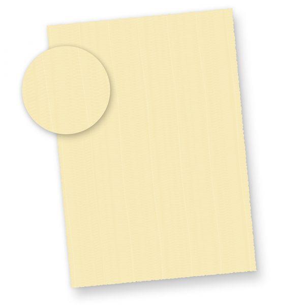 Büttenpapier A4 wildgerippt elfenbein (100 Blatt) dickes 115 g/qm Bütten Briefpapier ca. A4 mit Büttenrand und wellenartiger Rippung