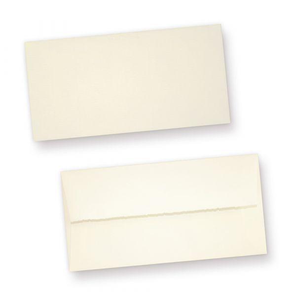 Büttenumschläge (25 Stück) edel gefüttert Umschläge Bütten DIN lang aus Büttenpapier, fein gerippt
