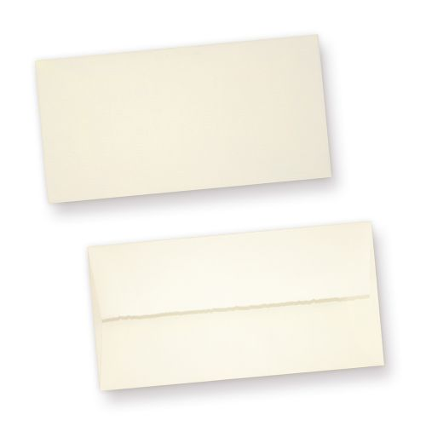 Büttenumschläge (50 Stück) edel gefüttert Briefumschläge Bütten DIN lang aus Büttenpapier, fein gerippt