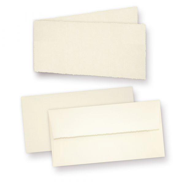Einladungskarten Bütten (25 Sets) Karten mit Büttenrand und dick gefütterte Briefumschläge