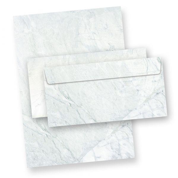Briefpapier Set Marmor grau (25 Sets ohne Fenster) Marmorpapier