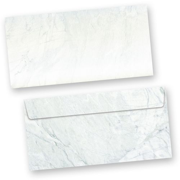 Briefumschläge Marmor grau-blau (250 ohne Fenster) DIN lang Umschlag mit grau-blau strukturiertem Hintergrund. Passendes Briefpapier erhältlich oder auch als Set.