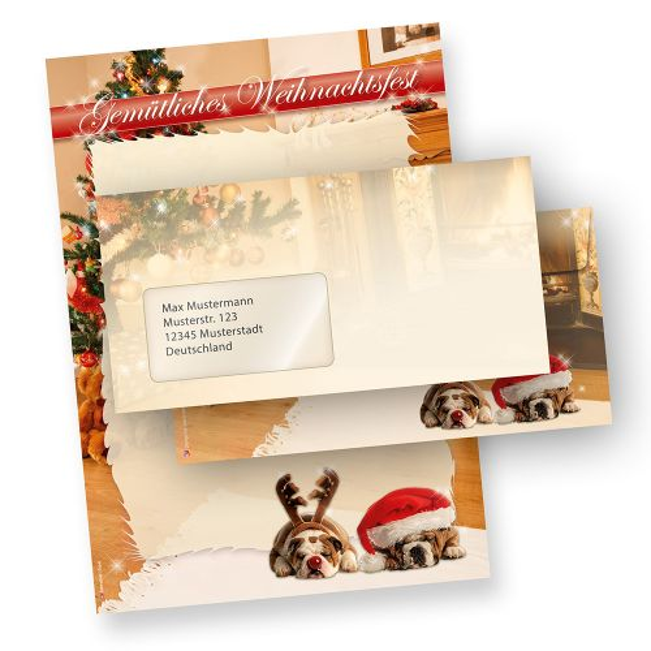 Briefpapier Weihnacht Witzige Hunde (10 Sets + Fensterumschläge) Qualitätspapier