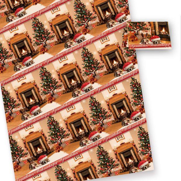 Geschenkpapier Weihnachten Drollige Hunde (25 Bogen) DIN A2 (gefalzt auf DIN A4 geliefert). inkl. passender Geschenkanhänger