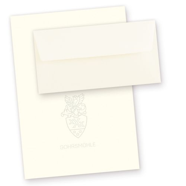 GOHRSMÜHLE Feinstpapier Set (50 Sets) Briefpapier DIN A4 mit gefütterte Briefumschläge, mit Wasserzeichen