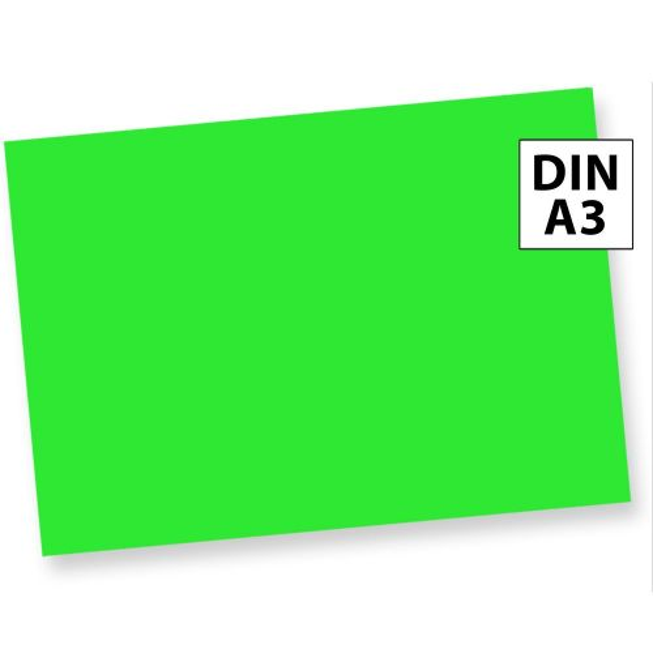 Neonpapier NEON Grün 100 Blatt DIN A3 80 g/qm farbiges Briefpapier, Leuchtpapier