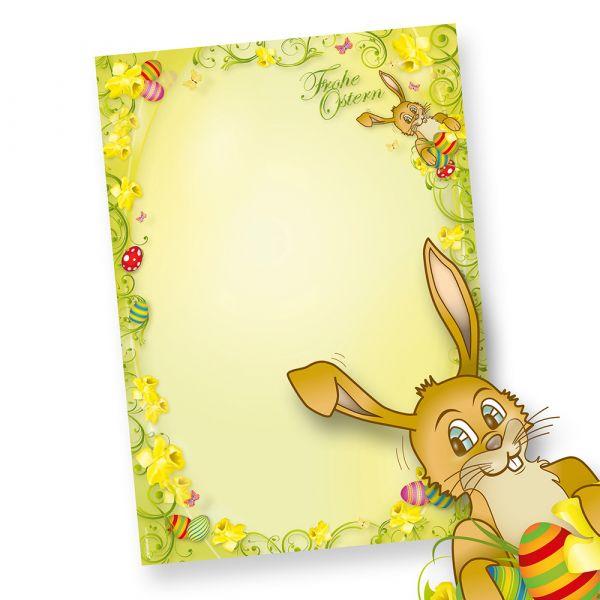 Briefpapier Ostern mit Hase 1-seitig (250 Stück) DIN A4 - NEU: inkl. 2 x 2 Oster-Postkarten