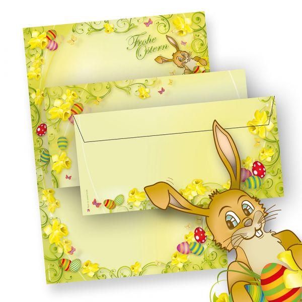 Briefpapier Ostern Set A4 mit Hase (100 Sets ohne Fenster) mit Umschläge, Frohe Ostern - NEU: inkl. 2 x 2 Oster-Postkarten