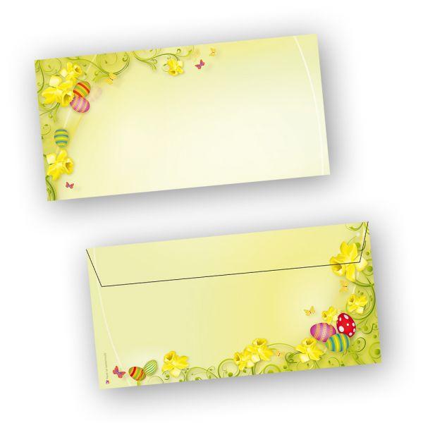 Briefumschläge Ostern 2-seitig (250 Stück ohne Fenster) DIN lang Umschlag mit Ostermotiv  - NEU: inkl. 2 x 2 Oster-Postkarten