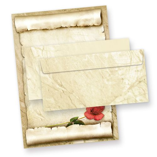 Briefpapier Set mit ROTE ROSE (100 Sets) Vintage