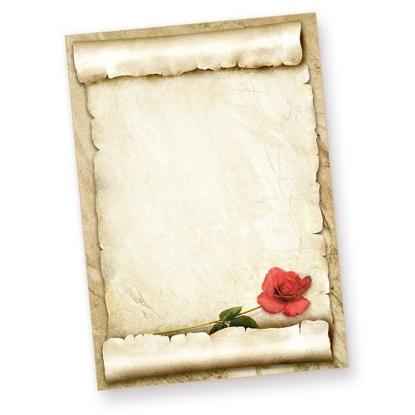 Briefpapier mit ROTE ROSE (50 Blatt) Vintage