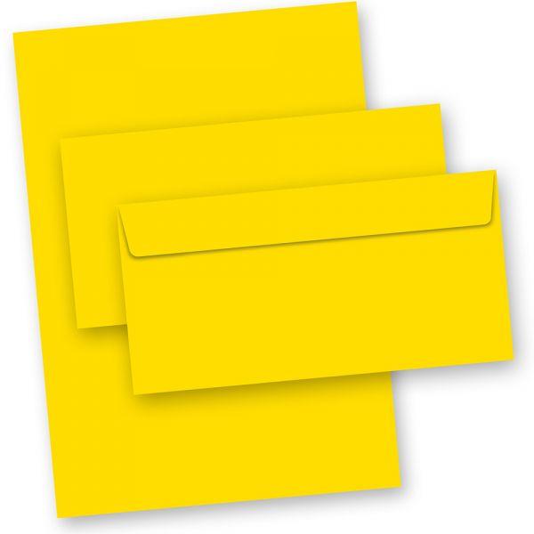 Briefpapier Gelb (50-teilig, mit Umschläge)
