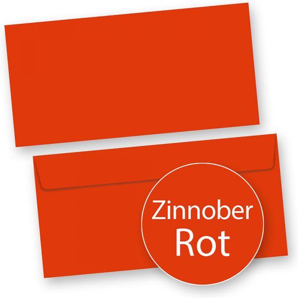 PREMIUM Briefumschläge Rot (50 Stück) DIN lang Umschlag farbig, Rot, selbstklebend mit Haftklebestreifen