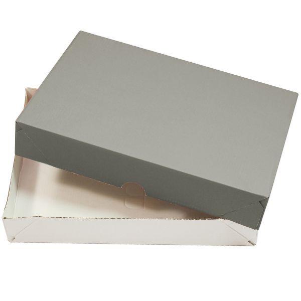 Aufrichteschachteln für A4 grau-weiß (10 Stück) Stülpkartons Faltkartons Deckel + Boden