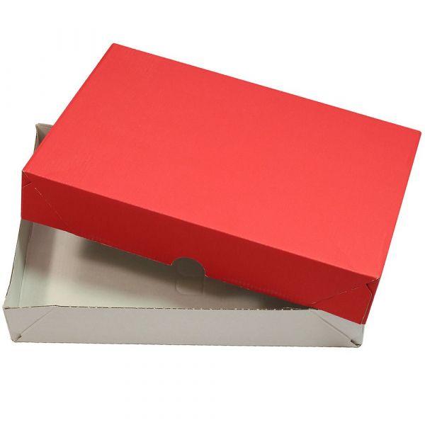 Aufrichteschachteln für A4 rot-weiß (10 Stück) Stülpkartons Faltkartons Deckel + Boden