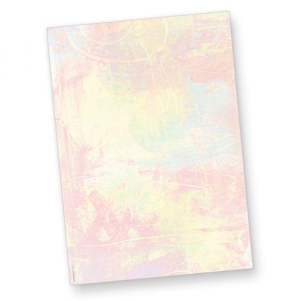 Briefpapier Pastell (50 Blatt) Farbiges Briefpapier DIN A4 BEIDSEITIG mit pastellfarbenem Batik-Hintergrund, Künstlerpapier
