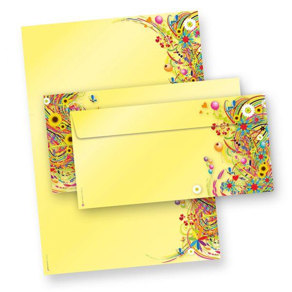 Briefpapier Set Blumen FlowerPower Set (25 Sets mit Umschläge) Geschenkset