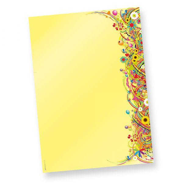 FlowerPower Briefpapier Blumen (250 Blatt) Retro Motivpapier DIN A4 beidseitig Motivpapier DIN A4