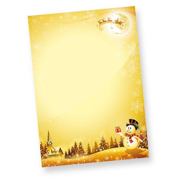 Schneemann Briefpapier für Weihnachten (100 Blatt)