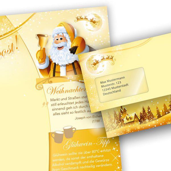 Briefpapier Set Weihnachtspost (10 Sets mit Fenster)  doppelseitig, bedruckbar für Weihnachten