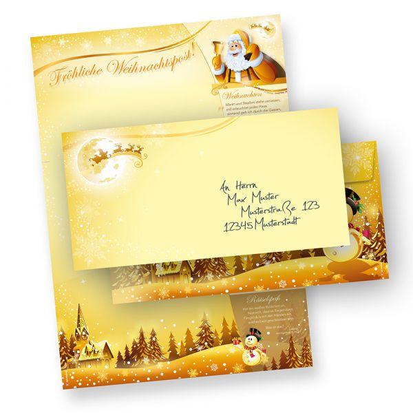 Briefpapier Set Weihnachtspost (25 Sets ohne Fenster) Weihnachtsbriefpapier mit Umschlägen -  Rückseite mit Weihnachtslieder