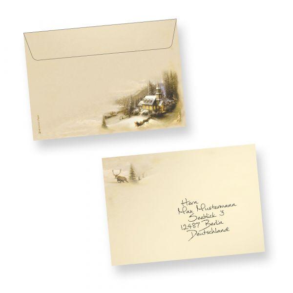 Briefumschläge Winteridylle C6 (50 Stück) Kuverts nostalgisch mit traditionellem Motiv