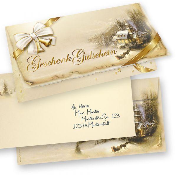 Geschenkgutscheine Weihnachten Winteridylle (25 Sets inkl. Kuverts) einfach Werte eintragen und stempeln, für Firmen aller Art